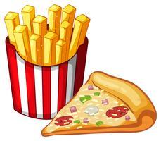 Stuk pizza en zak frietjes