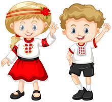Oekraïne kinderen in traditionele outfit vector