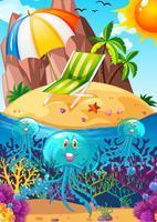 Oceaanscène met onderwater kwallen vector