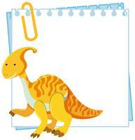 Een dinosaurus op notitiesjabloon