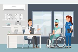 Medisch concept met arts en patiënten in vlakke beeldverhaal bij het ziekenhuiszaal