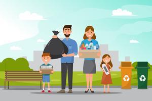 familie schoon en verzamel vuilnis in het park. vector