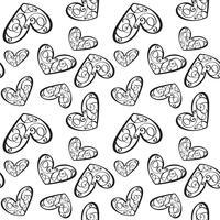 Naadloos vectorpatroon met kalligrafische harten. Ornament voor Valentijnsdag. Hand getrokken illustratie. Geïsoleerde penseelstreken
