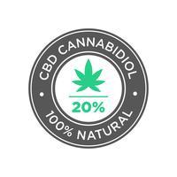 20 procent CBD Cannabidiol Oil-pictogram. 100 procent natuurlijk.