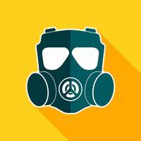 Gasmasker platte pictogram vector