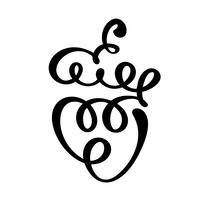 Vector hand getrokken Bunch of grapes overzicht doodle pictogram fruit. Tros druiven schets illustratie voor logo, print, web, mobiel en infographics geïsoleerd op een witte achtergrond