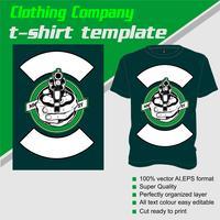 T-shirt sjabloon, volledig bewerkbaar met gun vector