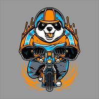 Panda rijden fiets hand tekenen vector