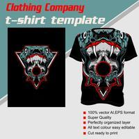 T-shirt sjabloon, volledig bewerkbaar met slang schedel vector