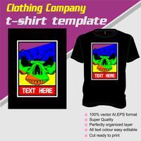 T-shirt sjabloon, volledig bewerkbaar met schedel vector