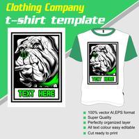 T-shirt sjabloon, volledig bewerkbaar met hond vector