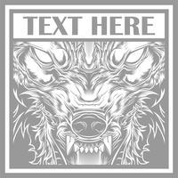 Vector illustratie hoofd woeste wolf, schets silhouet op een zwarte achtergrond
