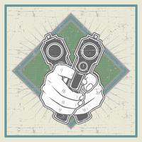 grunge stijl hand met pistool - vector