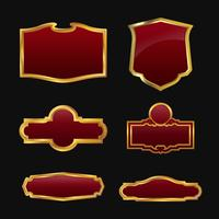 Etiketten met 3D-set met decoratieve rode gouden frames vector