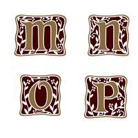 decoratie Letter M, N, O, P logo ontwerpsjabloon concept vector