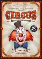 Vintage circusaffiche met clown hoofd