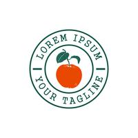 Oranje fruit stempel logo ontwerpsjabloon concept