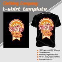 T-shirt sjabloon, volledig bewerkbaar met vintage rider vector