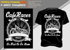 t-shirt sjabloon café racer .Shirt ontwerpen, biker, disk jockey, gentleman, kapper en vele anderen.isolated en gemakkelijk te bewerken. Vectorillustratie - Vector