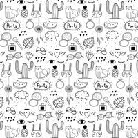 Patroon met de hand getekende Doodle Lovely Party achtergrond. Doodle grappig. Handgemaakte vectorillustratie.