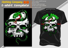 T-shirt sjabloon, volledig bewerkbaar met schedel snake vector