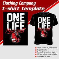 T-shirt sjabloon, volledig bewerkbaar met bokshandschoenen vector