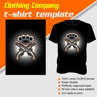 T-shirt sjabloon, volledig bewerkbaar met geweer en knokkel vector