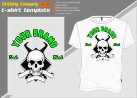 T-shirt sjabloon, volledig bewerkbaar met schedel hoorn vector