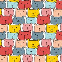 Schattige beren vector patroon achtergrond. Leuke Doodle. Handgemaakte vectorillustratie.