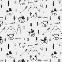 Hand getrokken schattige beer tribale patroon achtergrond. Vector illustratie.