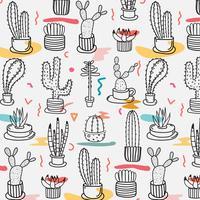 Hand getekend tropische cactus patroon. Hand gemaakt vectorillustratie. vector