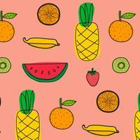 Achtergrond Met Vruchten Patroon. Hand getrokken vectorillustratie.