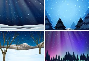 set van sneeuw achtergronden