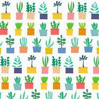 Hand getekend tropische cactus patroon. Vector illustratie achtergrond.