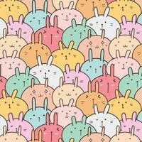 Schattig Bunny Vector patroon achtergrond. Grappige doodle. Handgemaakte vectorillustratie.