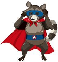 Een stinkdier superheld karakter vector