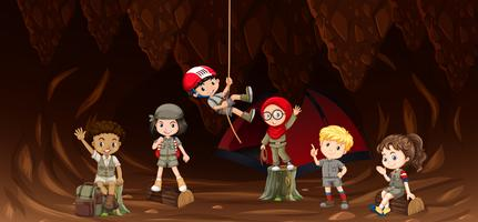 Student in de grot