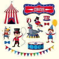 Circusperformance met element dieren vector