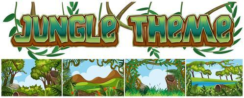 Set van jungle landschap