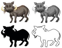 Set van wrattenzwijn karakter