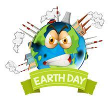 Boos vervuild aarde pictogram