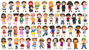 Set van multiculturele mensen karakter vector