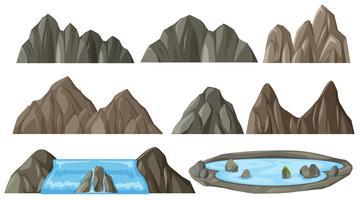 Set van verschillende berg