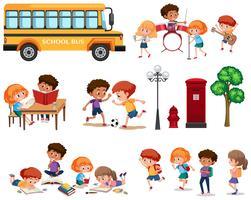 Set van schoolkinderen geïsoleerd