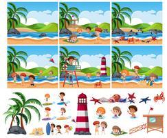 Set van zomer strand vector