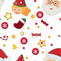 Naadloos malplaatje als achtergrond met Kerstman en ornamenten