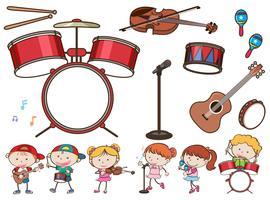 Verschillende muziekinstrumenten en kinderen vector
