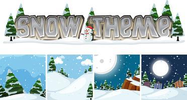 Set van winterlandschap sneeuw thema vector