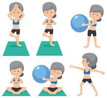 Bejaarde dame die verschillende oefening doet