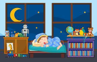 Jong kind slapen in de slaapkamer vector